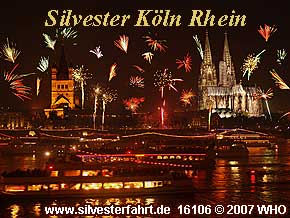 New Years Eve on the Rhine River in Cologne / Koln with New Years Eve Party on a Rhine River boat.